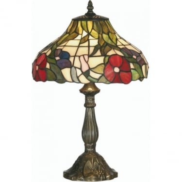 Oaks Lighting Tiffany Peonies Stained Glass Table Lamp OT1345/12