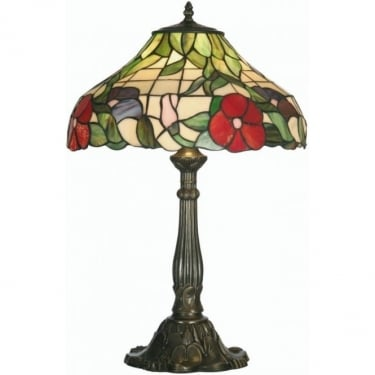 Oaks Lighting Tiffany Peonies Stained Glass Table Lamp OT1345/16