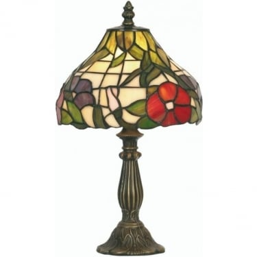 Oaks Lighting Tiffany Peonies Stained Glass Table Lamp OT1345/8