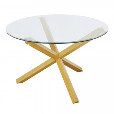 Oporto Round Dining Table, Oak & Clear Glass