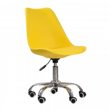 Orsen Office Chair, Yellow & Faux Leather