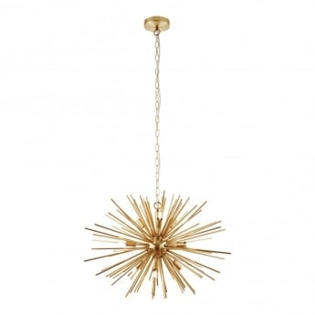 Endon Lighting Orta 9Lt Satin Brushed Gold 28W Multi-Arm Pendant Light (70575)