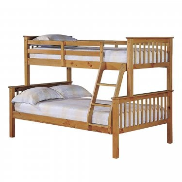 Otto Antique Wax Pine 4'0 Trio Bunk Bed Pair