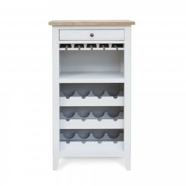 Paige 1 Drawer Wine Cabinet, Distressed Grey & Limed Oak
