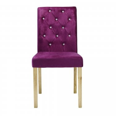 Paris Dining Chair Set Of 2, Purple & Crushed Velvet