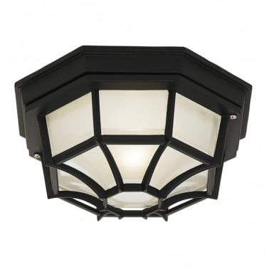 Endon Lighting Parkway 1Lt Matt Black & Frosted Glass Outdoor 60W Flush Light (YG-0100-BL)