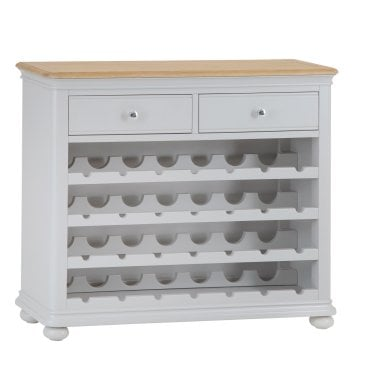 Penny 2 Drawer Wine Cabinet, Soft Grey