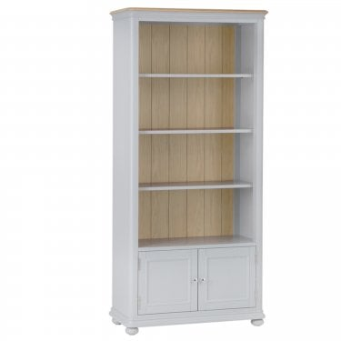 Penny Large 2 Door Bookcase, Soft Grey
