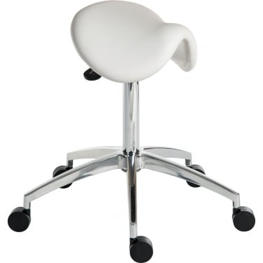 Perch White Draughter Stool with Aluminium Base