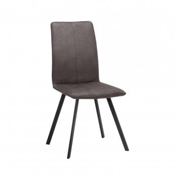 Clique Home Piper Dining Chair Set Of 2, Charcoal Grey Microsuede