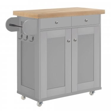 LPD Furniture Portland Grey Kitchen Cart (PORTKITGRE)