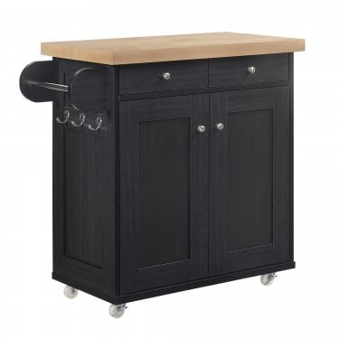 Portland Kitchen Cart, Black & Oak