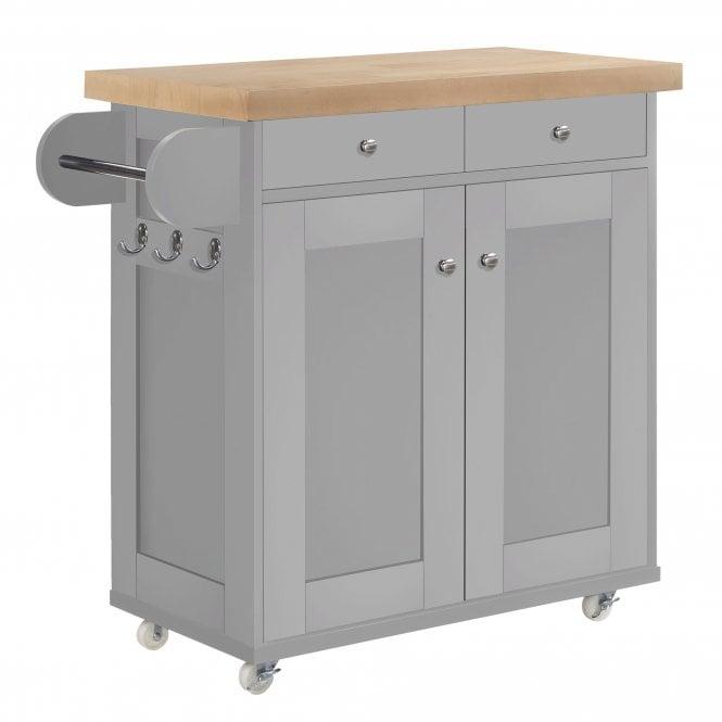 Portland Kitchen Cart, Grey & Oak