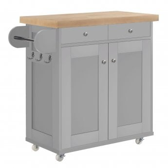 LPD Furniture Portland Kitchen Cart, Grey & Oak
