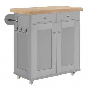 LPD Furniture Portland Kitchen Cart, Grey & Oak