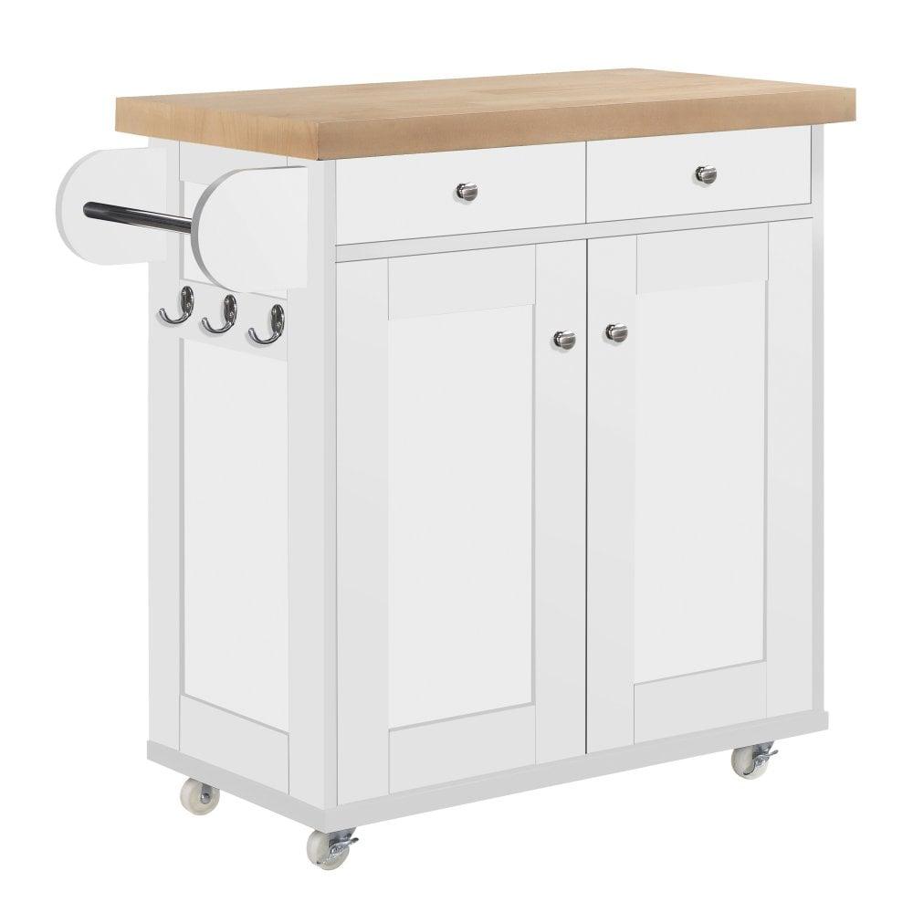 Lpd Furniture Portland White Kitchen Cart Leader Stores