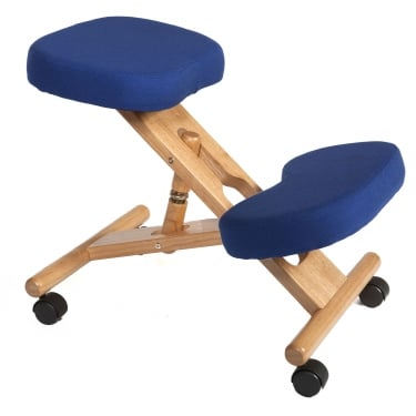Posture Blue Kneeling Stool with Wooden Frame