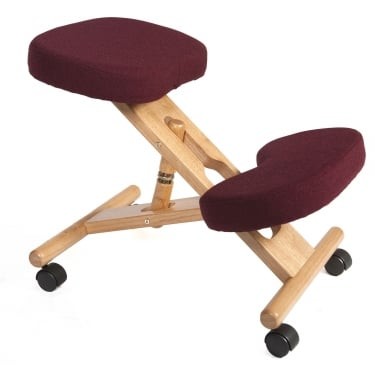 Posture Burgundy Kneeling Stool with Wooden Frame