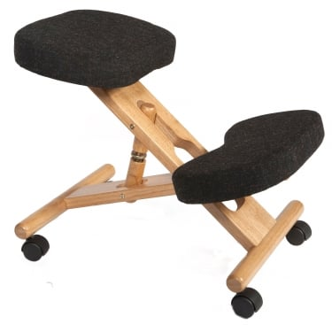 Posture Charcoal Kneeling Stool with Wooden Frame
