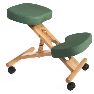 Posture Green Kneeling Stool with Wooden Frame