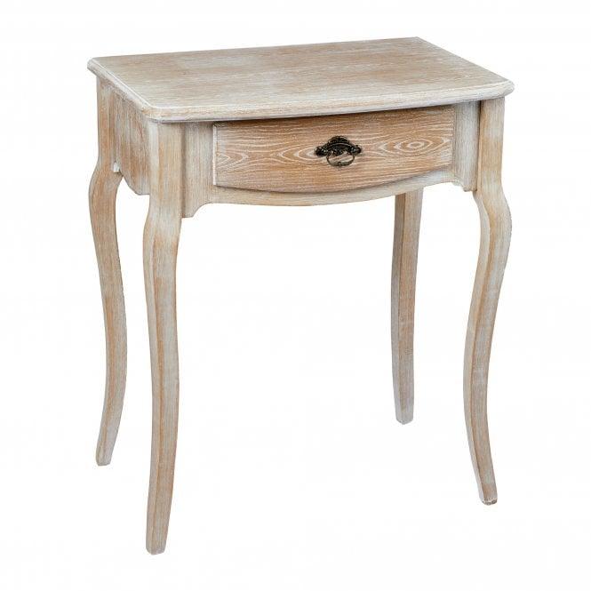 Provence Rectangular 1 Drawer Lamp Table, Weathered Oak