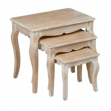 Provence Weathered Oak Nest of Tables 3-Pack