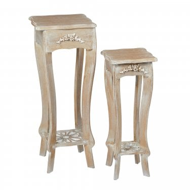 Provence Weathered Oak Plant Stand Pair