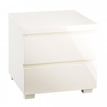 Puro High Gloss Cream 2 Drawer Bedside Cabinet
