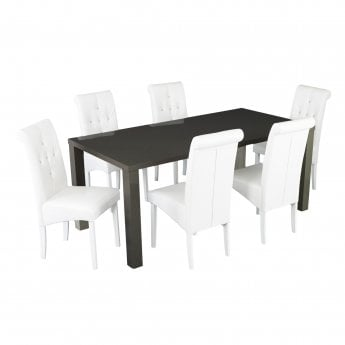 4ff61327ccf5 Puro Medium Charcoal High Gloss Dining Table | Leader Stores