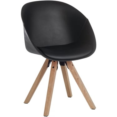 Pyramid Black Visitor Tub Chair with Oak Legs