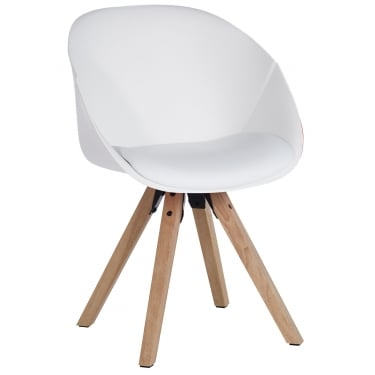 Pyramid White Visitor Tub Chair with Oak Legs