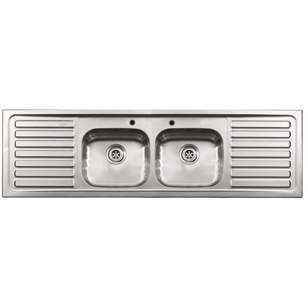 Double Kitchen Sink With Drainer : ... Sinks ? Pyramis ? Pyramis Inset Double Bowl Double Drainer Sit-on