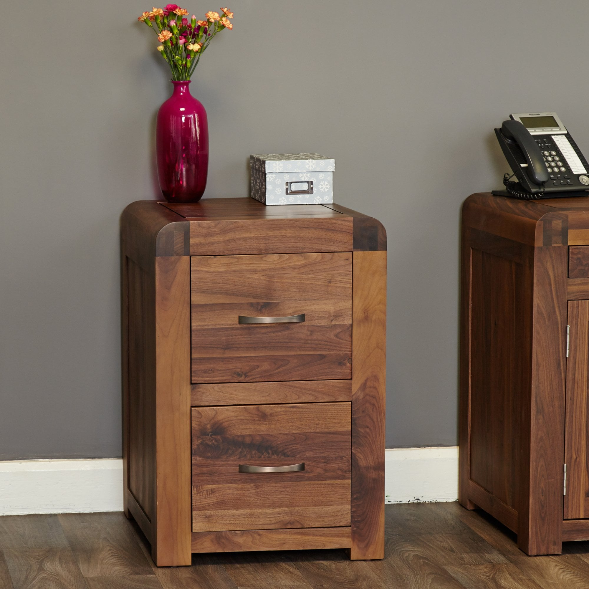 Picture of: Hugo Isaac Quinto 2 Drawer Filing Cabinet Walnut Leader Furniture