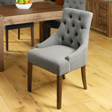 Quinto Accent Chair Set Of 2, Slate Grey Linen & Walnut