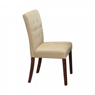 Quinto Dining Chair Set Of 2, Biscuit Linen & Walnut