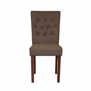 Quinto Dining Chair Set Of 2, Slate Grey Linen & Walnut