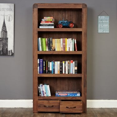 Quinto Large 2 Drawer Bookcase, Walnut