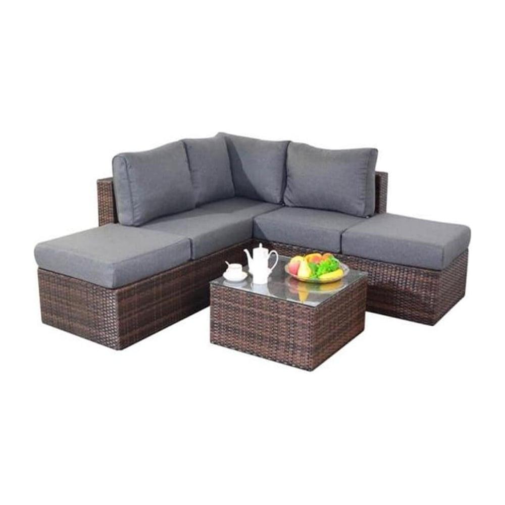 Port royal garden furniture prestige brown small corner for Small sofa set