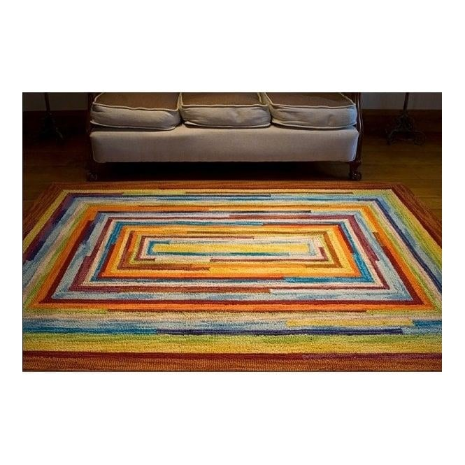 Real Rug Colourful Multicoloured Wool Square Retro Rug