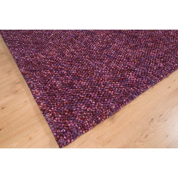 Real Rug Pebble Purple Wool Rectangular Modern Rug