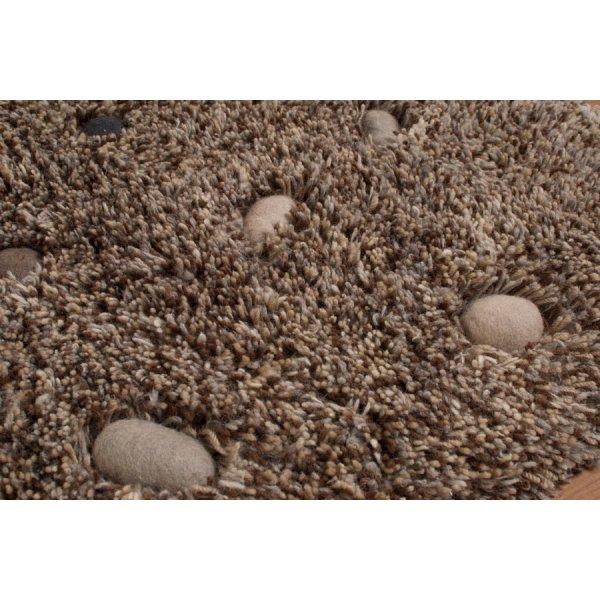 Real Rug Stone Garden Brown & Beige Wool Rectangular