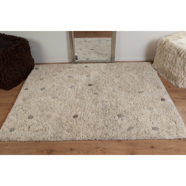 Real Rug Stone Garden Beige & White Wool Rectangular
