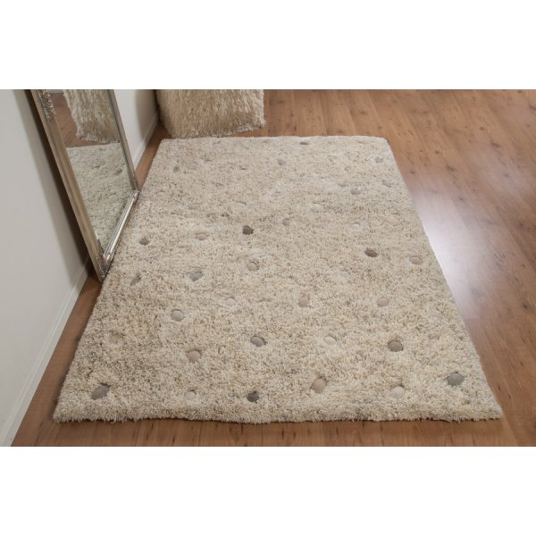 Real Rug Stone Garden Beige & White Wool Rectangular