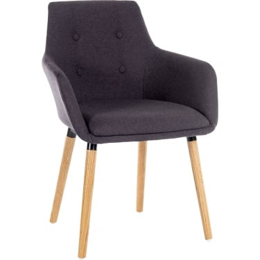 Reception Graphite Chair Pair with Oak Legs