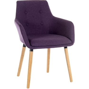 Reception Plum Chair Pair with Oak Legs