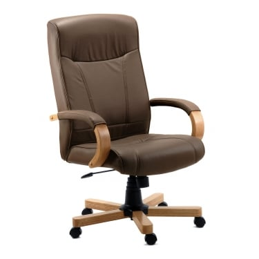 Richmond Brown Executive Chair with Light Wood Base