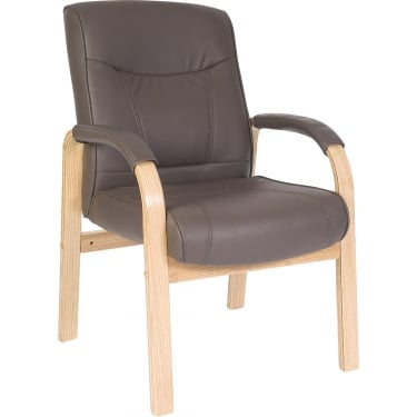 Richmond Brown Visitor Chair with Light Wood Base