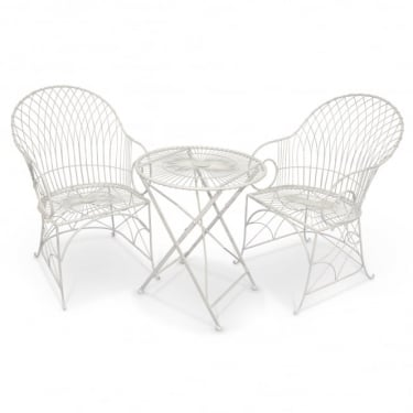 Richmond Garden Alessia Antique Ivory Metal 3 Piece Armchair Patio Set
