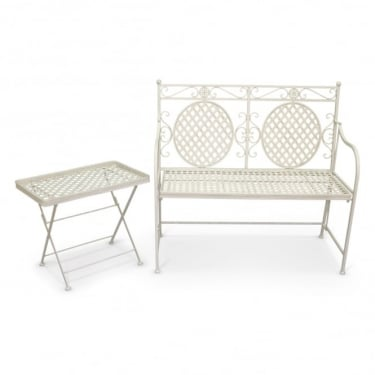 Richmond Garden Cassis Matt Cream Metal 2 Piece Folding Patio Bench Set
