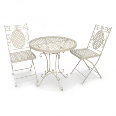 Richmond Garden Cassis Matt Cream Metal 3 Piece Folding Patio Bistro Set